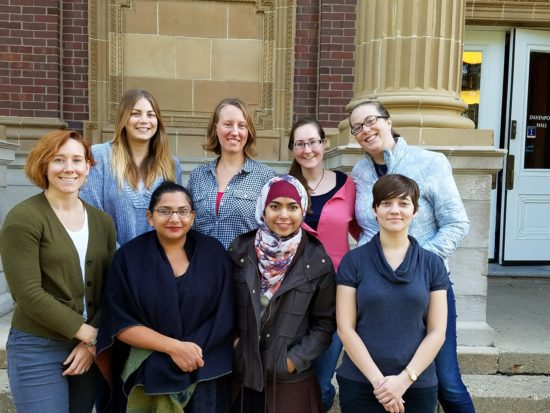 The 2016-2017 Clancy Lab. Top row: Rachel Mitchell (U), Katie Lee (G), Mary Rogers (G), Summer Sanford (G). Bottom row: Kate Clancy, Michelle Rodrigues (P), Zarin Sultana (U), Sara Gay (U). Not pictured: Kristina Allen (U)